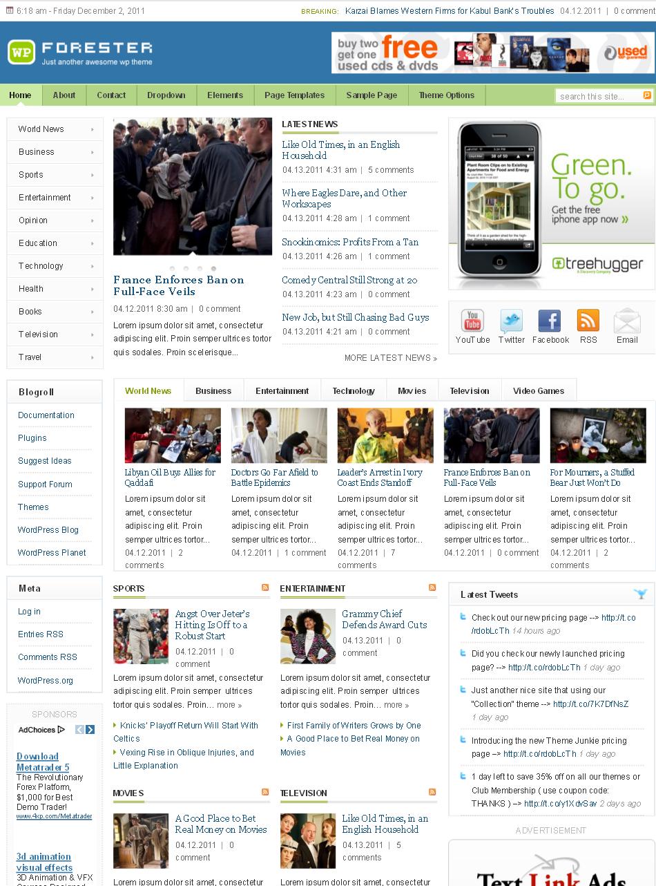 Forester WordPress Premium theme preview