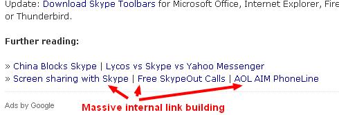 Massive internal link building with blog