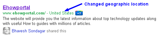 Changed Geographic location in Search Engine Results page