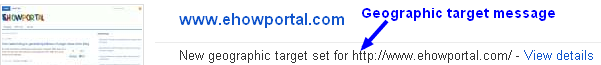 Geographic target set message in Webmaster tools