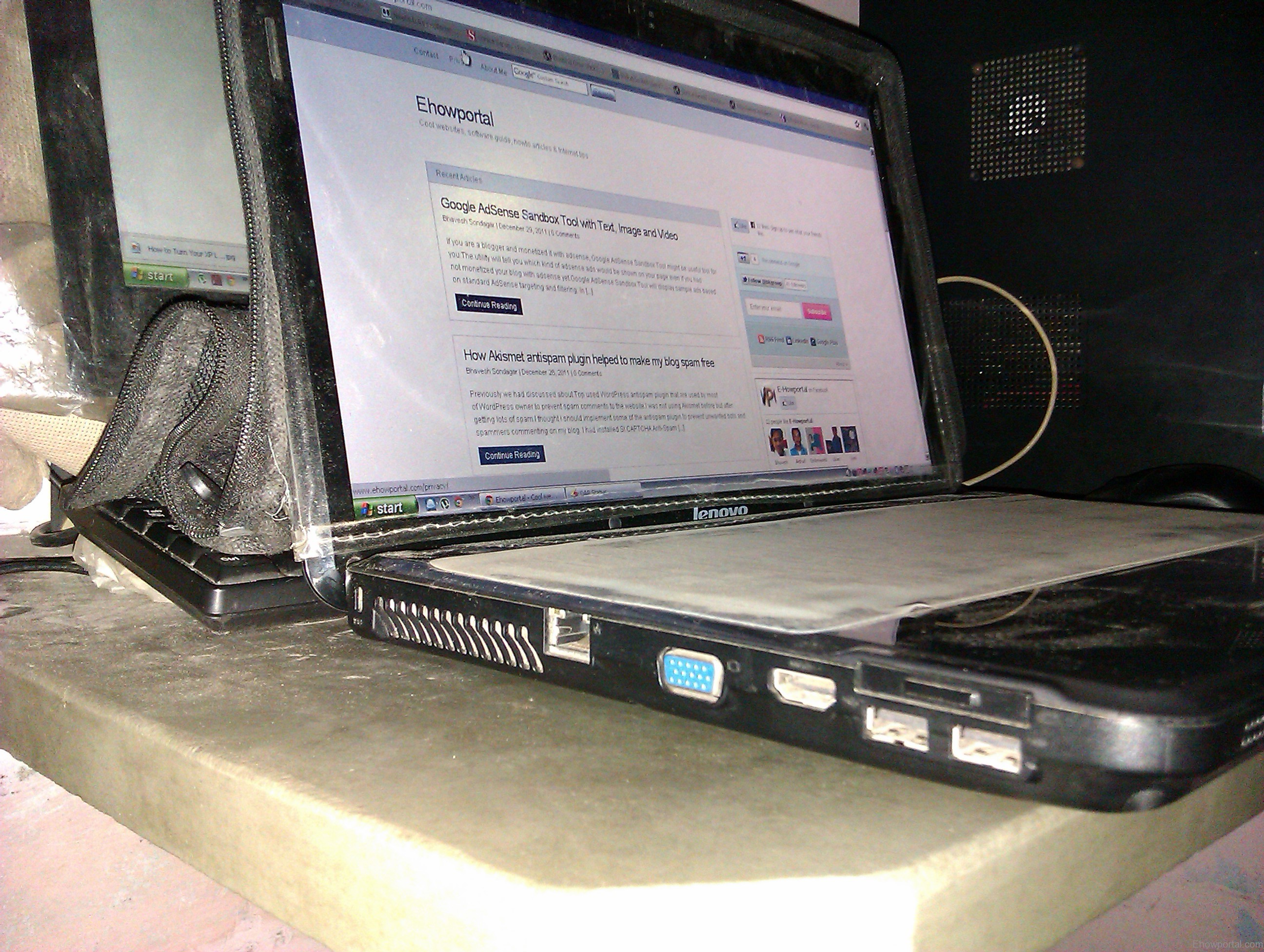 Side view of my laptop