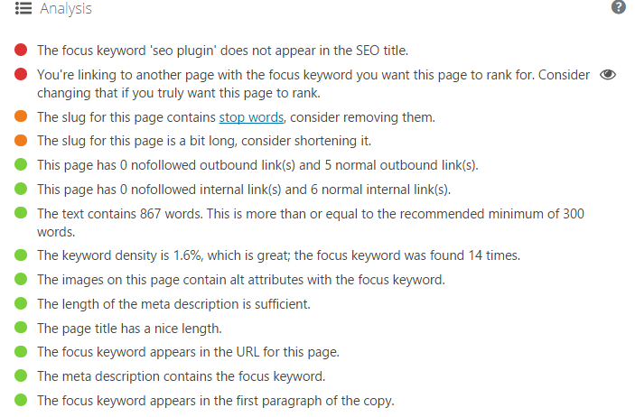 On Page SEO Advise by Yoast