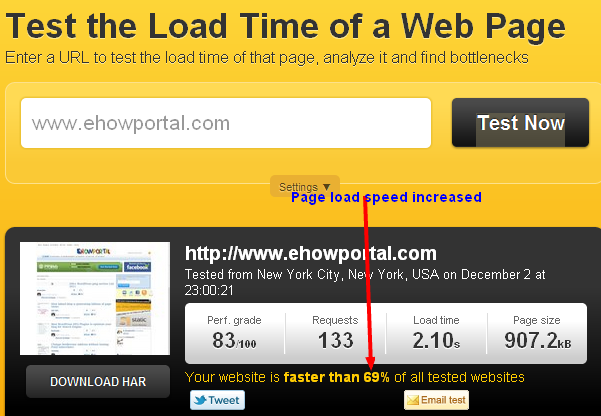 Increased page loading speed for WordPress blog