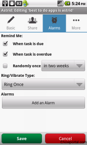 Set up Alarm with Astrid