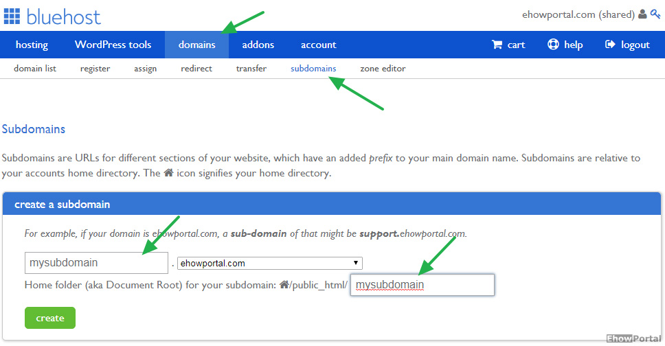 Create a subdomain on Bluehost