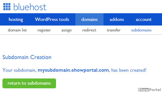 How to Create or Delete Subdomain From Bluehost 1