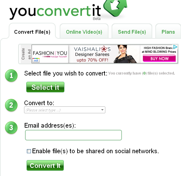 YouConvertIt -Complete conversion, file storage, units conversion Website