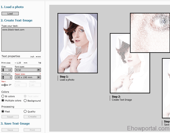 Convert Text to image art from photos