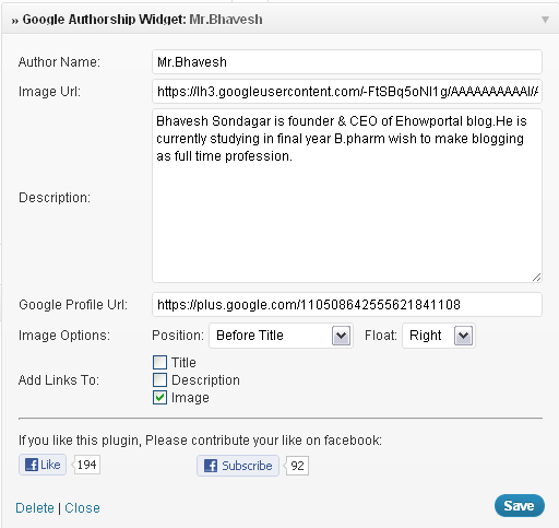Google Authorship Widget