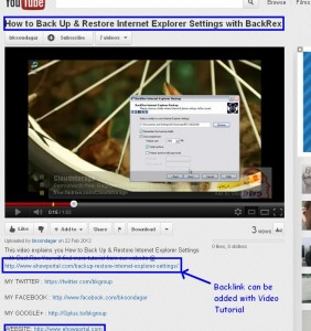 Get Backlink from YouTube