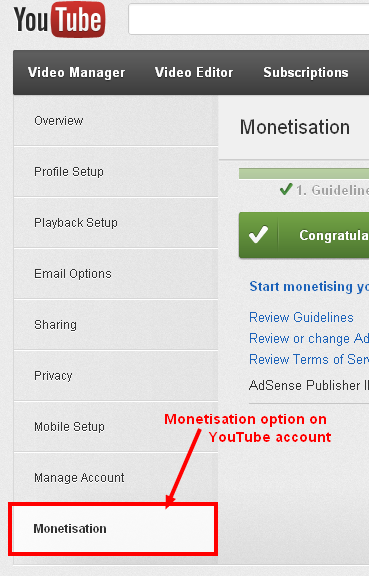 Monitisation option on YouTube account