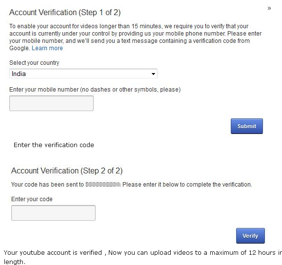 Verifying mobile for your YouTube account