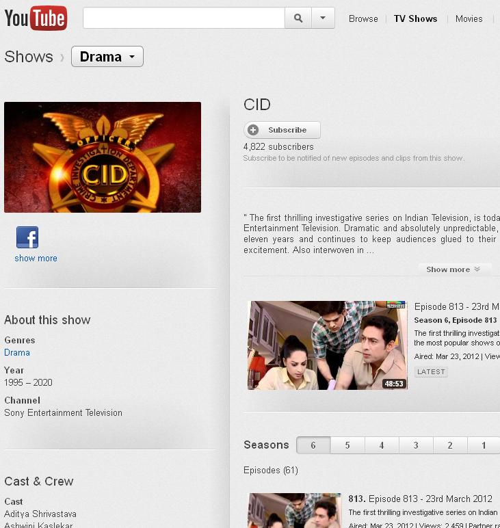 Watch CID on YouTube