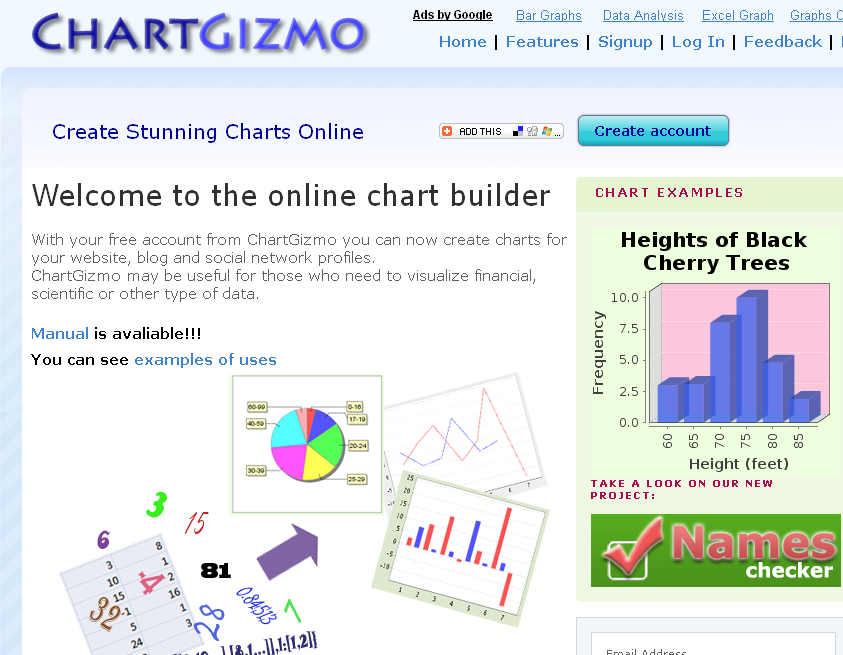 Create free online charts with online chart builder ChartGizmo.com Use our chart software for visualizing your data. Create Stunning Charts Online With Chartgizmo