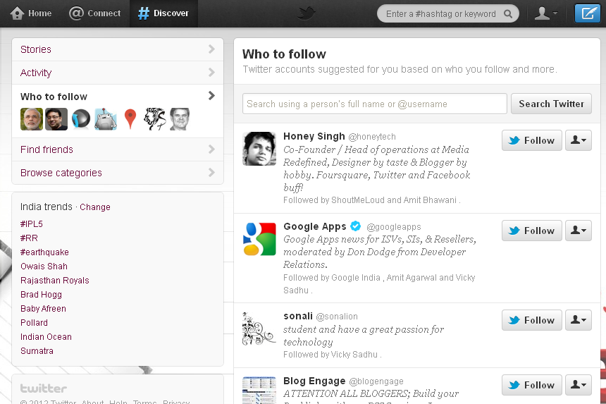 Twitter Who to follow Suggestions Top Websites For Search People To Follow On Twitter