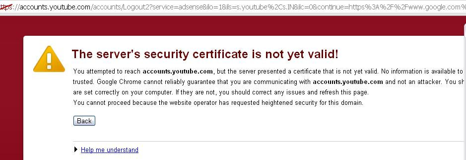 Servers Security Certificate not valid
