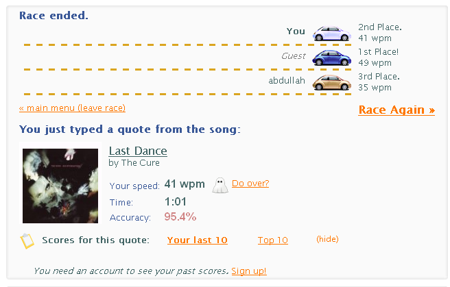 TypeRacer Test your typing speed and learn to type faster. Free typing game and competition. Way more fun than a typing tutor1 TypeRacer   Test your typing speed and learn to type faster