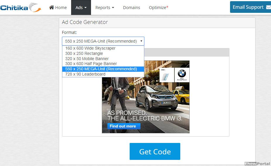 Chitika Ad Code Generator