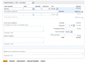 Create a new invoice PayPal