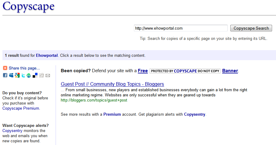 Copyscape search results Copyscape   Online Free Plagiarism Checker