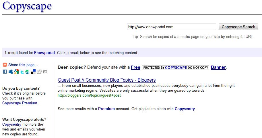 Copyscape search results