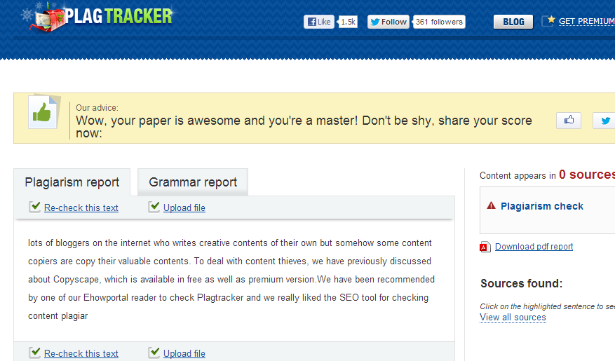 Plagiarism checking result for your document PlagTracker   The Best FREE Plagiarism Checker