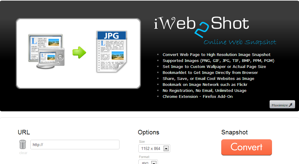 iWeb2Shot   Free Online Web Page to High Resolution Image Snapshot   Sciweavers