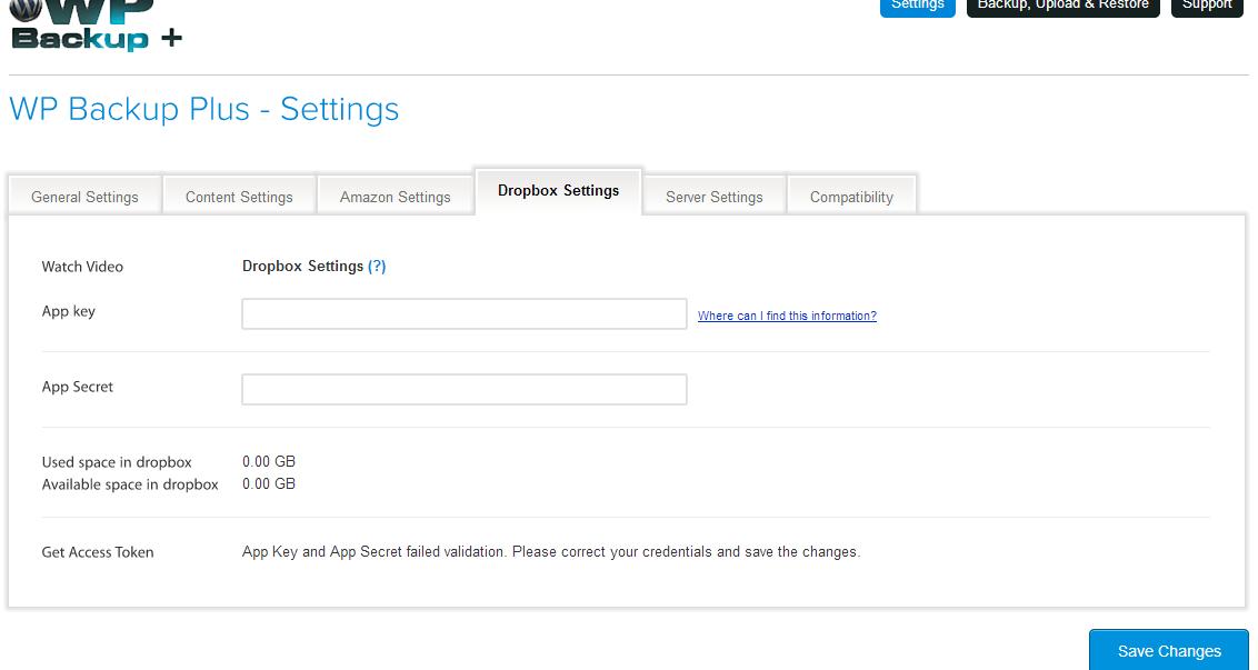 Dropbox setting in WP Backup Plus