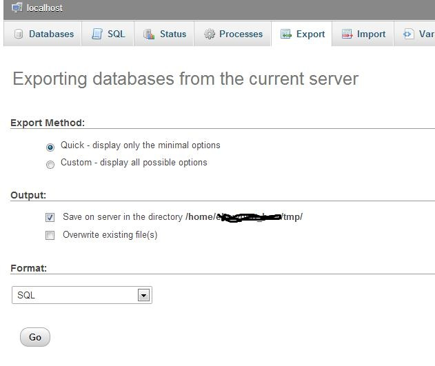 export the mysql database from your myphpadmin