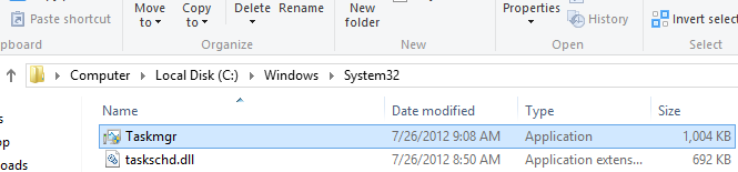 Open Task manager from System32 folder