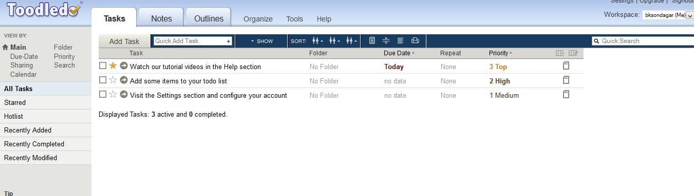 Toodledo : A to-do list to organize your tasks