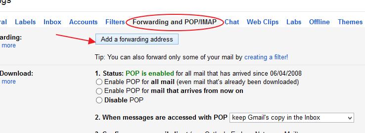 Add Forwarding address on gmail account