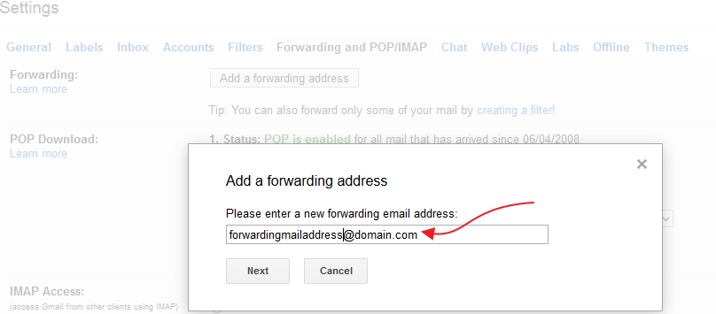 Adding Forwarding mail address on Gmail account