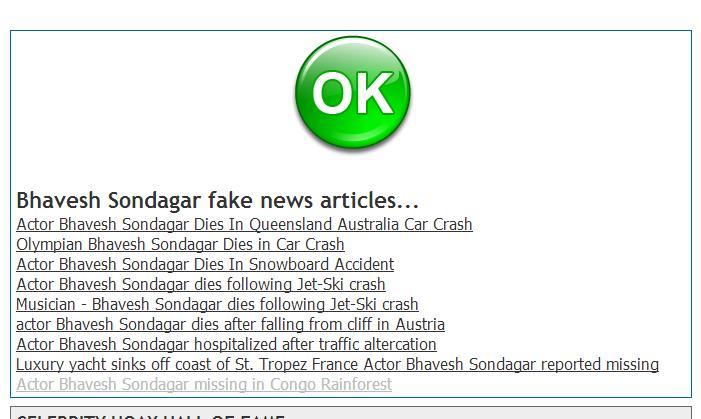 Bhavesh Sondagar Fake News Articles