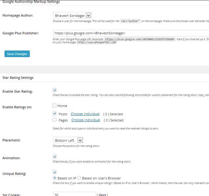 Google Authorship Markup Setting