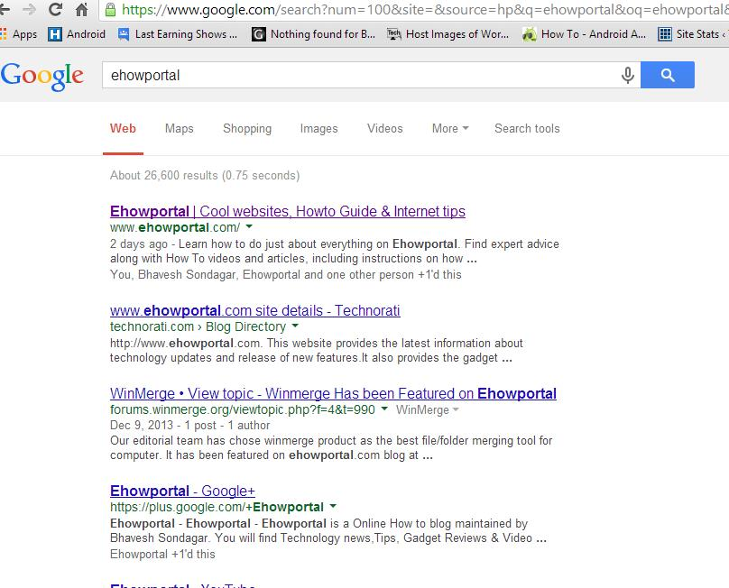Google Search Engine Results Page