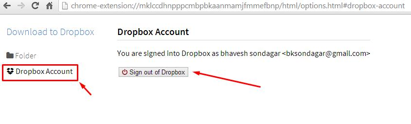 Sign Out of Dropbox - Chrome Plugin