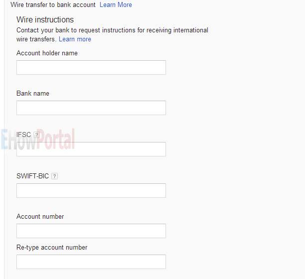 Add NEFT details on Adsense account
