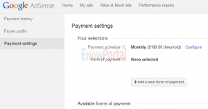Add New Form of Payment on Google Adsense