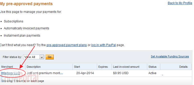 Cancelling Pre-approved Payments from PayPal