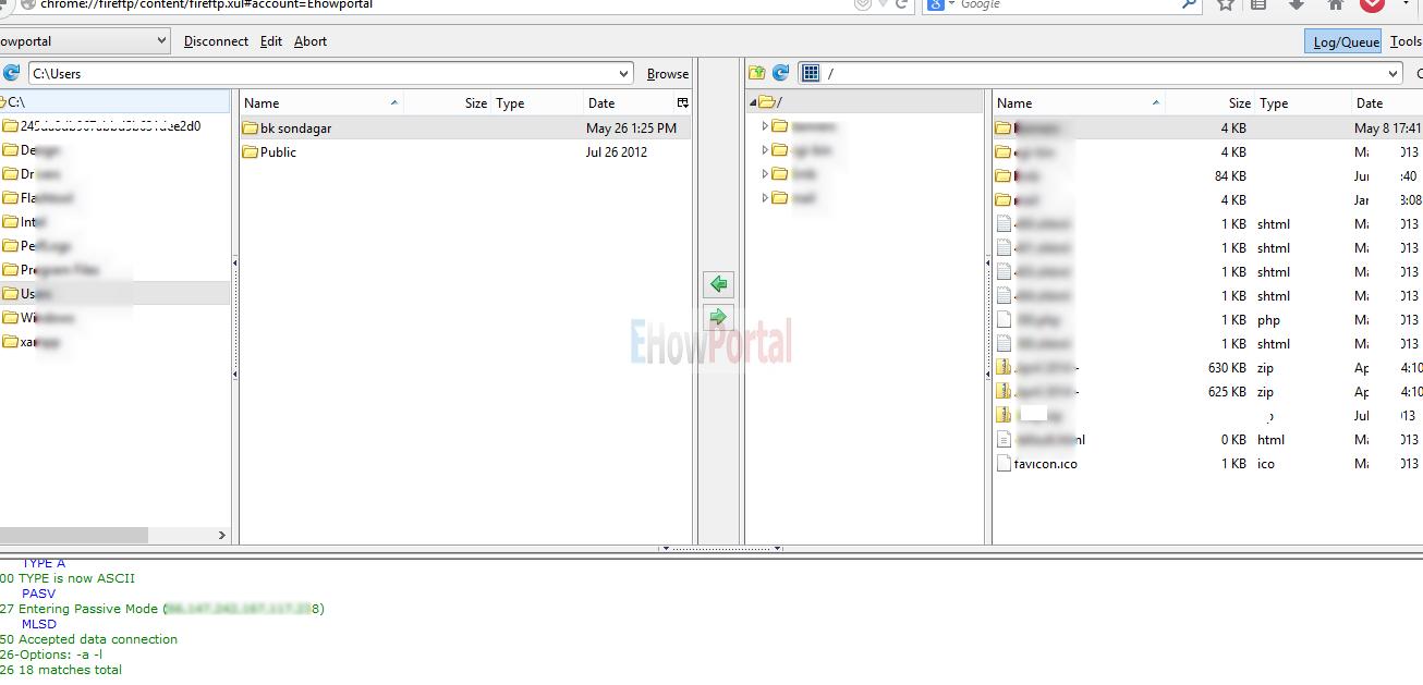 Configured FTP account using FireFTP
