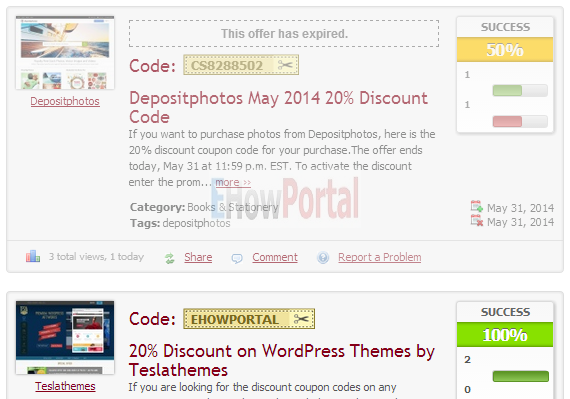 Expired Coupon Codes on Clipper WordPress Theme