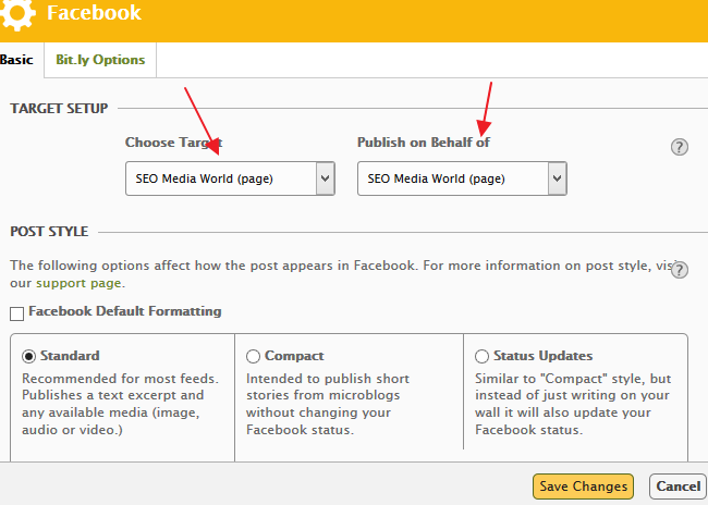 Target Setup on Facebook Auto Publishing