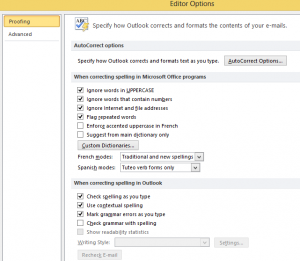 Outlook Proffing Option in Outlook Spell Check Settings