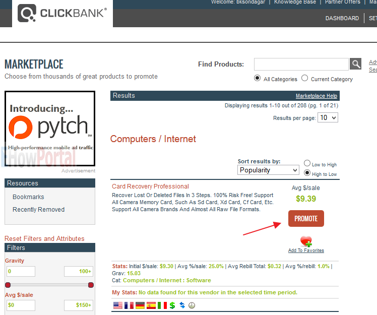 Search For Product to Promote on Clickbank