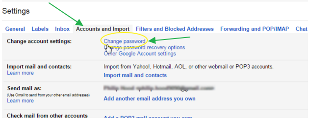 how to change password on gmail