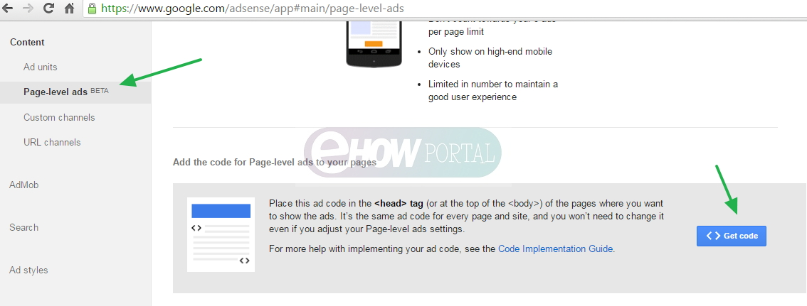 Adsense Page Level Ads Implementation
