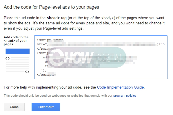 Adsense Page Level Ads code