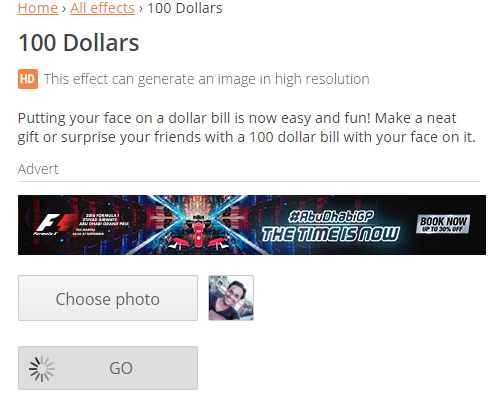 photofunia - Get Photo on 100 Dollar note