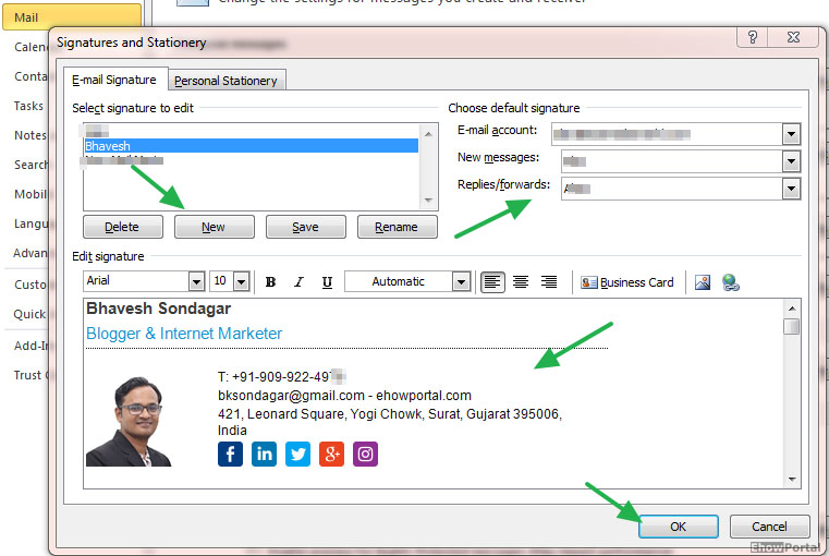 how to change signature in outlook 2010